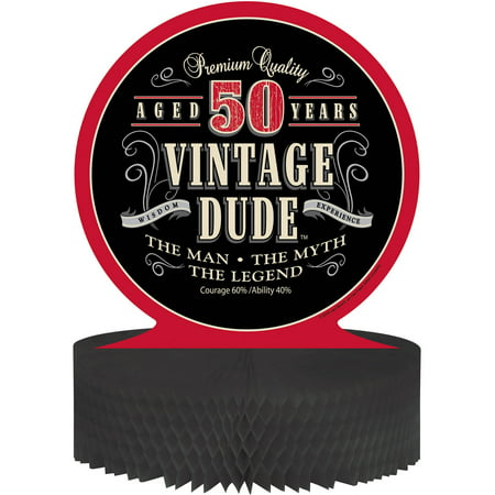 Vintage Dude 50th Birthday Centerpiece