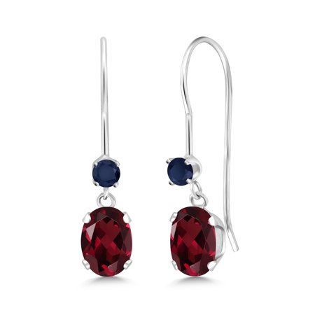 1.10 Ct Oval Red Rhodolite Garnet Blue Sapphire 14K White Gold Earrings
