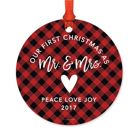 Family Metal Christmas Ornament, Our First Christmas As Mr. & Mrs. 2017, Red Plaid, Includes Ribbon and Gift (Our First Christmas As Mr And Mrs Svg)