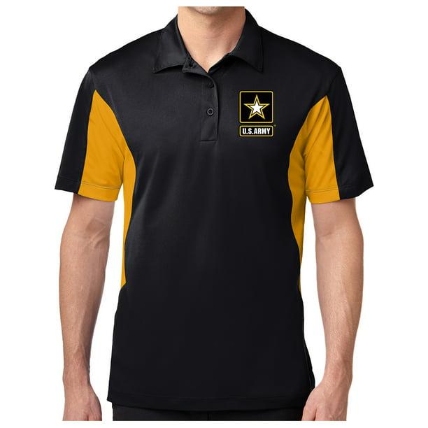 Mens Sport-Wick ARMY Polo Shirt - Black/Gold, Extra Small (pocket print)