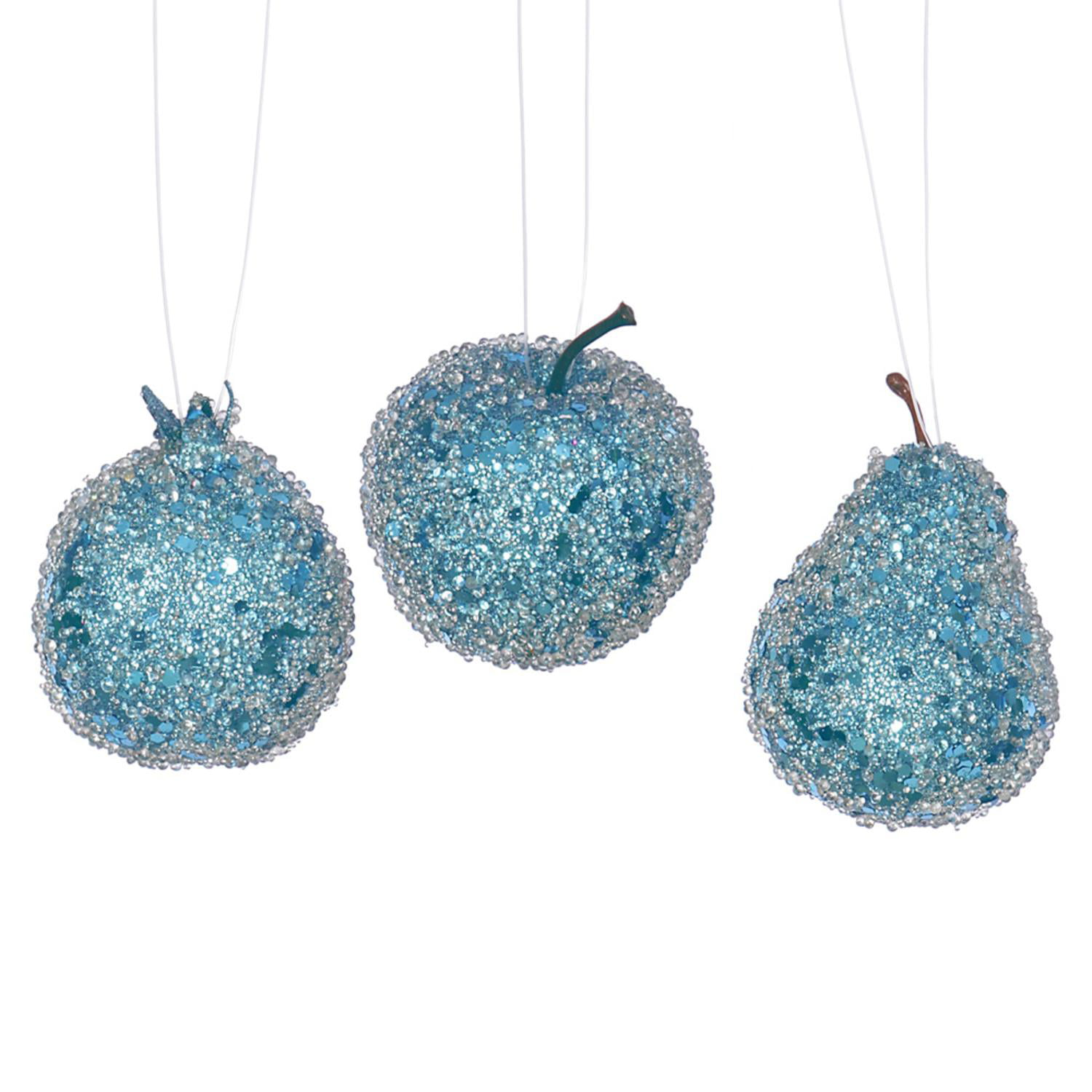 3ct Turquoise Blue Beaded, Sequin And Glitter Pear, Apple And Pomegranate  Fruit Christmas Ornaments  Walmart