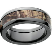 AP Men's Camo 8mm Black Zirconium Wedding Band with Polished Edges and Deluxe Comfort Fit
