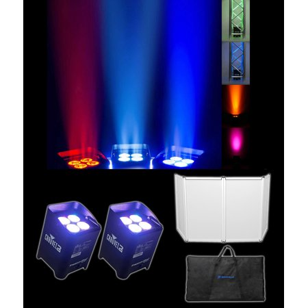 (2) Chauvet DJ Freedom Par Quad 4 RGBA Wireless Rechargable Wash Lights+Facade