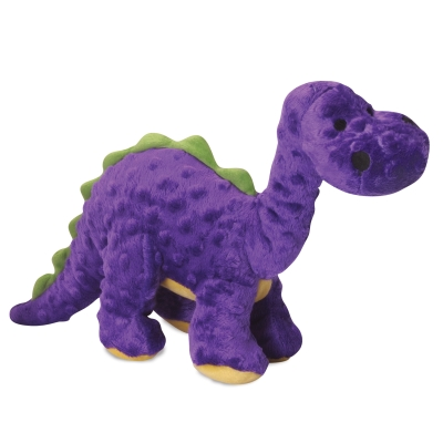 goDog® Dinos Bruto with Chew Guard Technology™ Plush Squeaker Dog Toy, Large, Purple