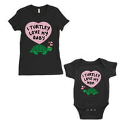 Turtley Love Baby Mom Mom and Baby Matching Gift T-Shirts Black