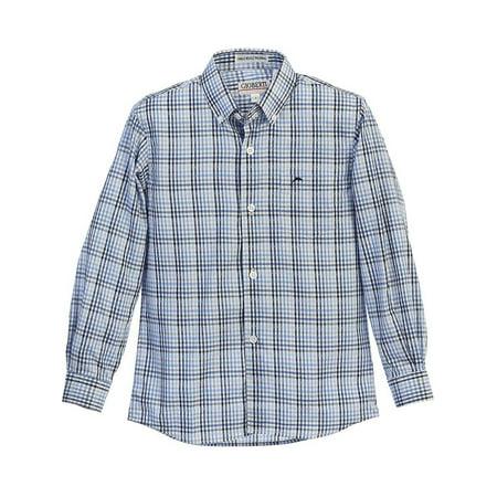 Gioberti Little Boys Blue Gradient Plaid Button-Up Long Sleeve Dress Shirt 4-7