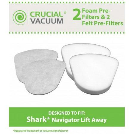 Shark Navigator Lift-Away 2 Foam & 2 Felt Pre Filters, Part # XFF350