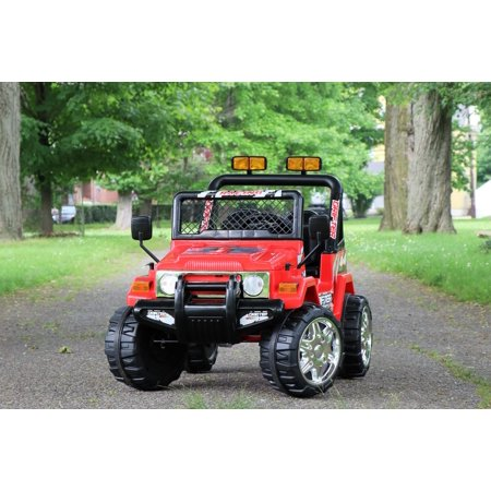 First Drive Jeep Truck - 12v Dual Motor Kids Electric Ride-On Car with Remote Control, MP3 Playback, Aux Cord, Premium Wheels - Red