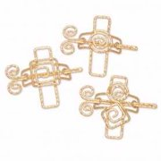 Scarf Accents-Coil Cross Assortment-Gold (Pack Of 3)