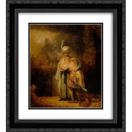 Rembrandt 2x Matted 20x24 Black Ornate Framed Art Print 'David and Jonathan'