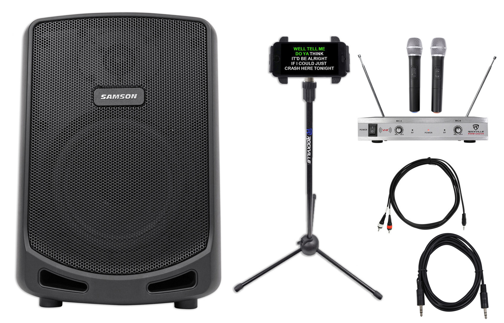 "Samson 6"" Portable YouTube Karaoke Machine System+2 Mics+Tablet Smartphone Stand by Samson"