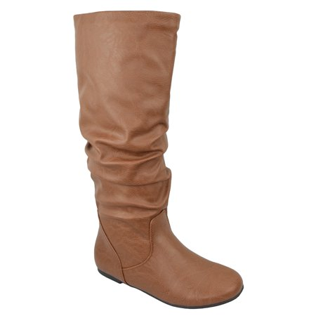 (ZULUU Soda Brand Knee High Women Basic Boots Flat Slouchy Boots Faux Slip on Leather Tan Brown Cognac PU)