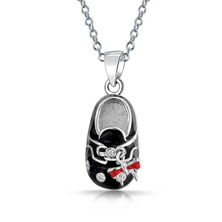 Baby Shoe Charm Pendant Gift for New Mother Women Black Red Bow Enamel CZ Engravable 925 Sterling Silver Black Cow Charm