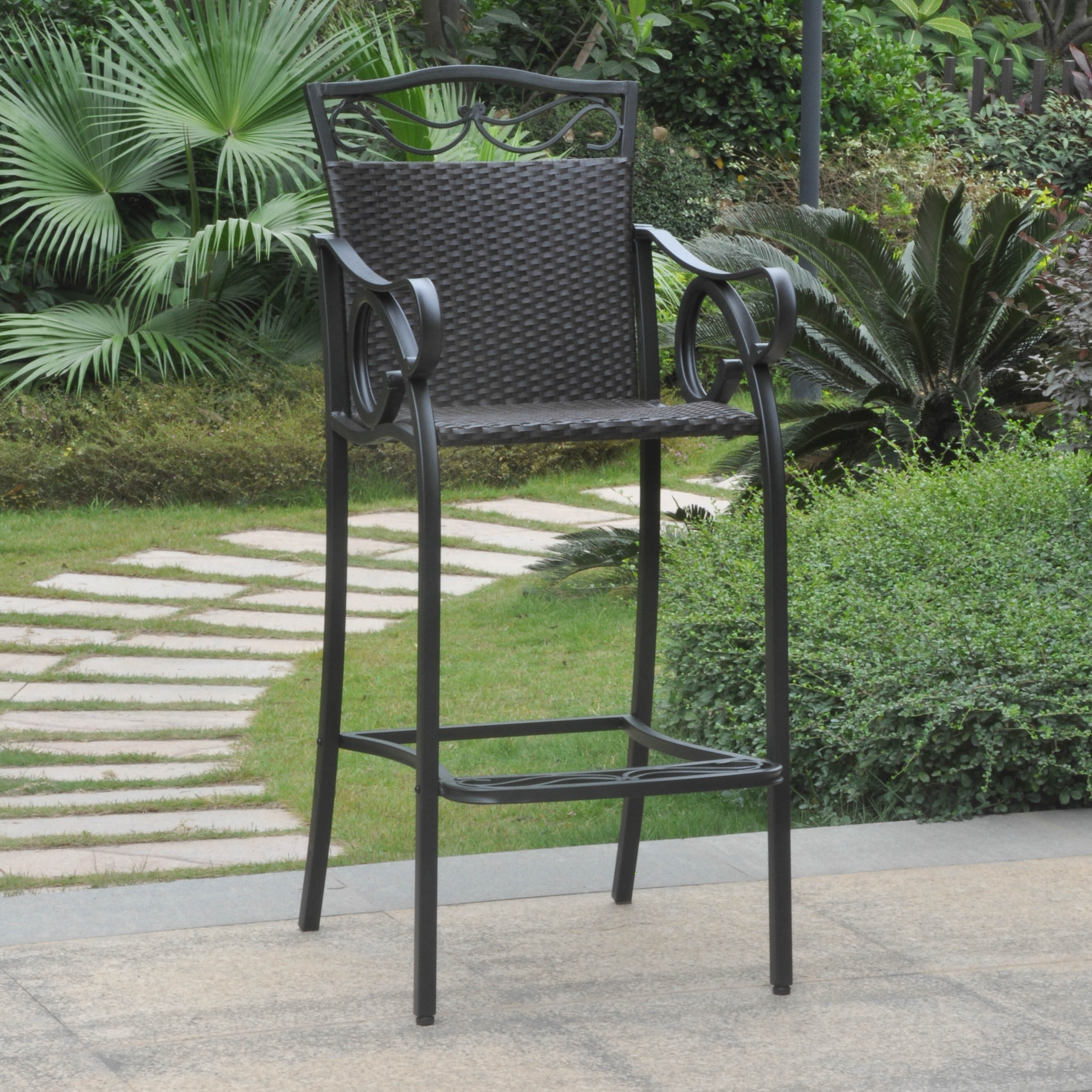 International Caravan Valencia Resin Wicker/ Steel Bar-height Chairs (Set of 2)