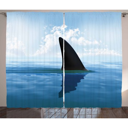 Shark Curtains 2 Panels Set, Shark Fish Fin over the Sea Surface Danger Caution Themed Picture, Window Drapes for Living Room Bedroom, 108W X 84L Inches, Grey Violet and Light Blue, by Ambesonne