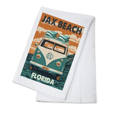 Jax Beach, Florida - Camper Van Letterpress  - Lantern Press Artwork (100% Cotton Kitchen Towel) (Halloween Jax Beach)