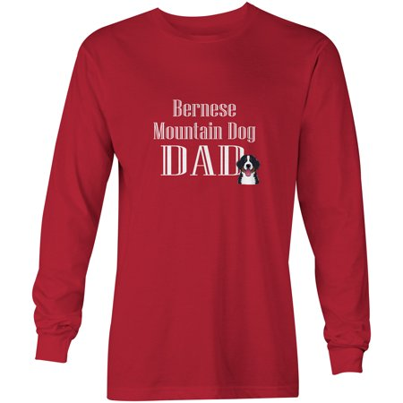 Bernese Mountain Dog Dad Long Sleeve Red Unisex Tshirt Adult Extra Large BB5245-LS-RED-XL