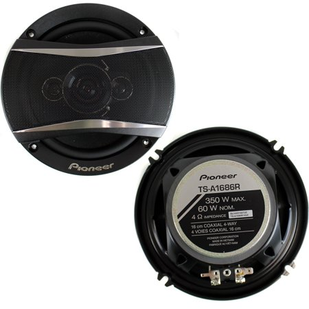 2  Pioneer 6 5 Inch 4 Way 350 Watt Coaxial Black Car Speakers Pair   Ts A1686r