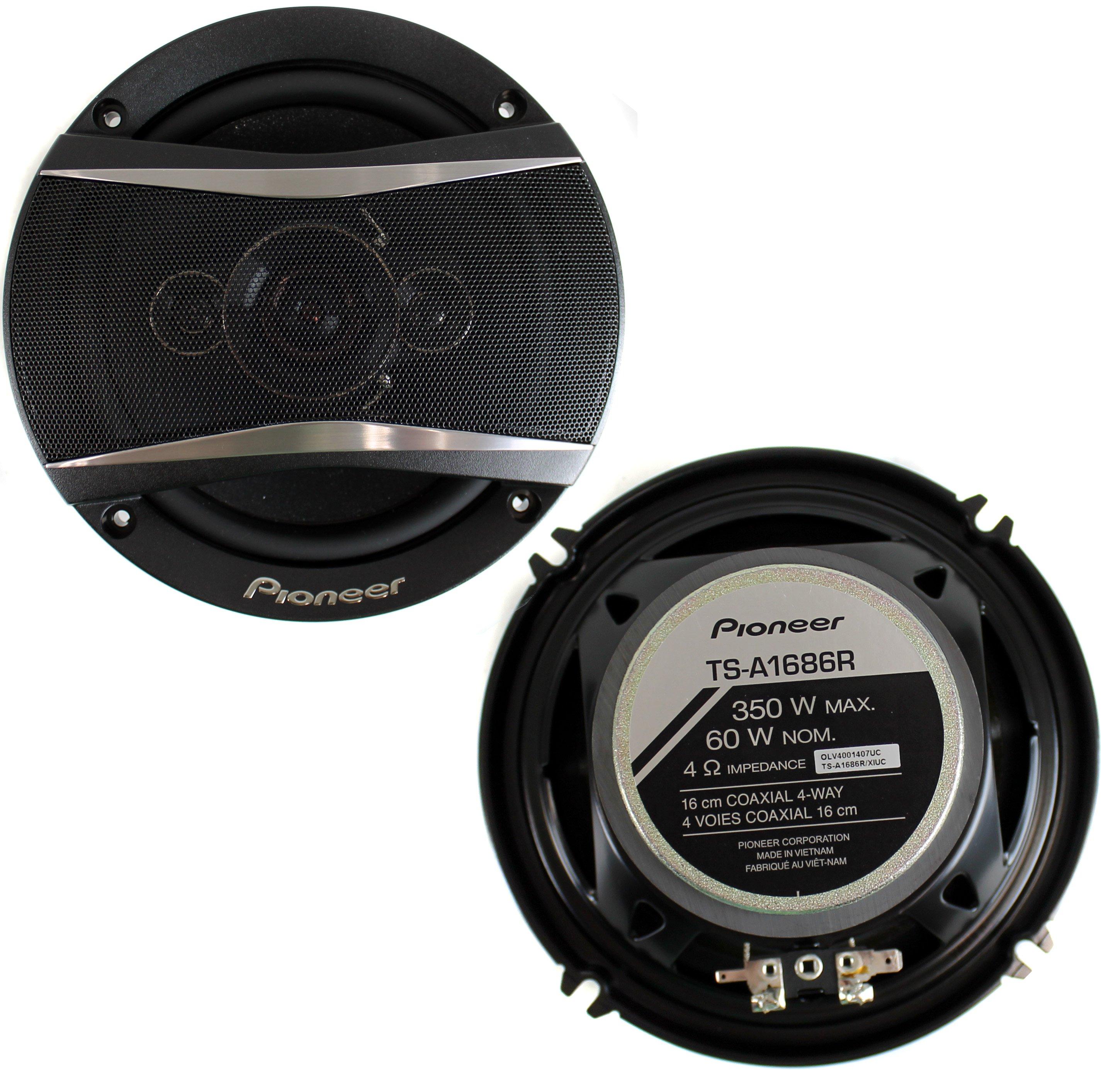 2) Pioneer 6.5 Inch 4-Way 350 Watt Coaxial Black Car Speakers Pair | TS-A1686R