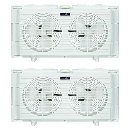 Lasko slim profile 2 speed 22 34 inch wide dual twin for 12 inch window fans