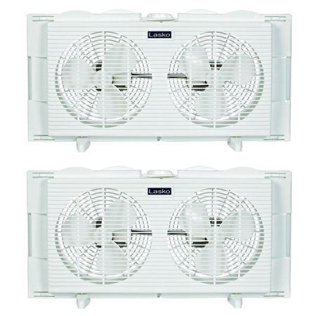 Lasko slim profile 2 speed 22 34 inch wide dual twin for 12 inch window fan