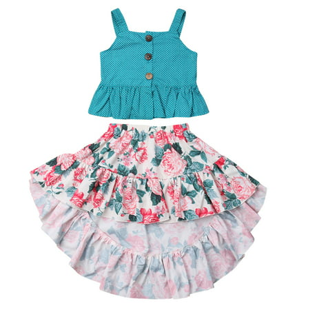 Toddler Kids Baby Girl Summer Ruffle Hem Tops + Ruffle Foral Skirt Dress Outfits Clothes Set