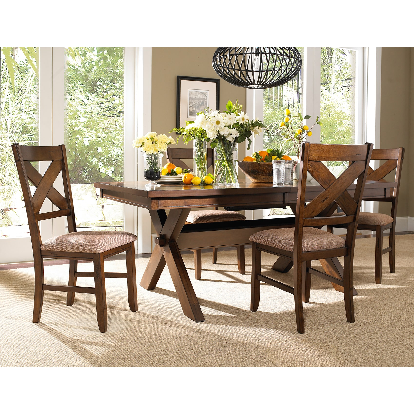 Roundhill Furniture Karven 5 Piece Wooden Dining Table Set