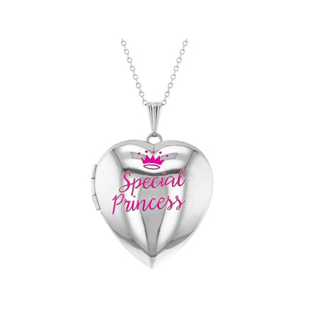Special Princess Pink Crown Photo Heart Locket Necklace Girls Pendant 16""