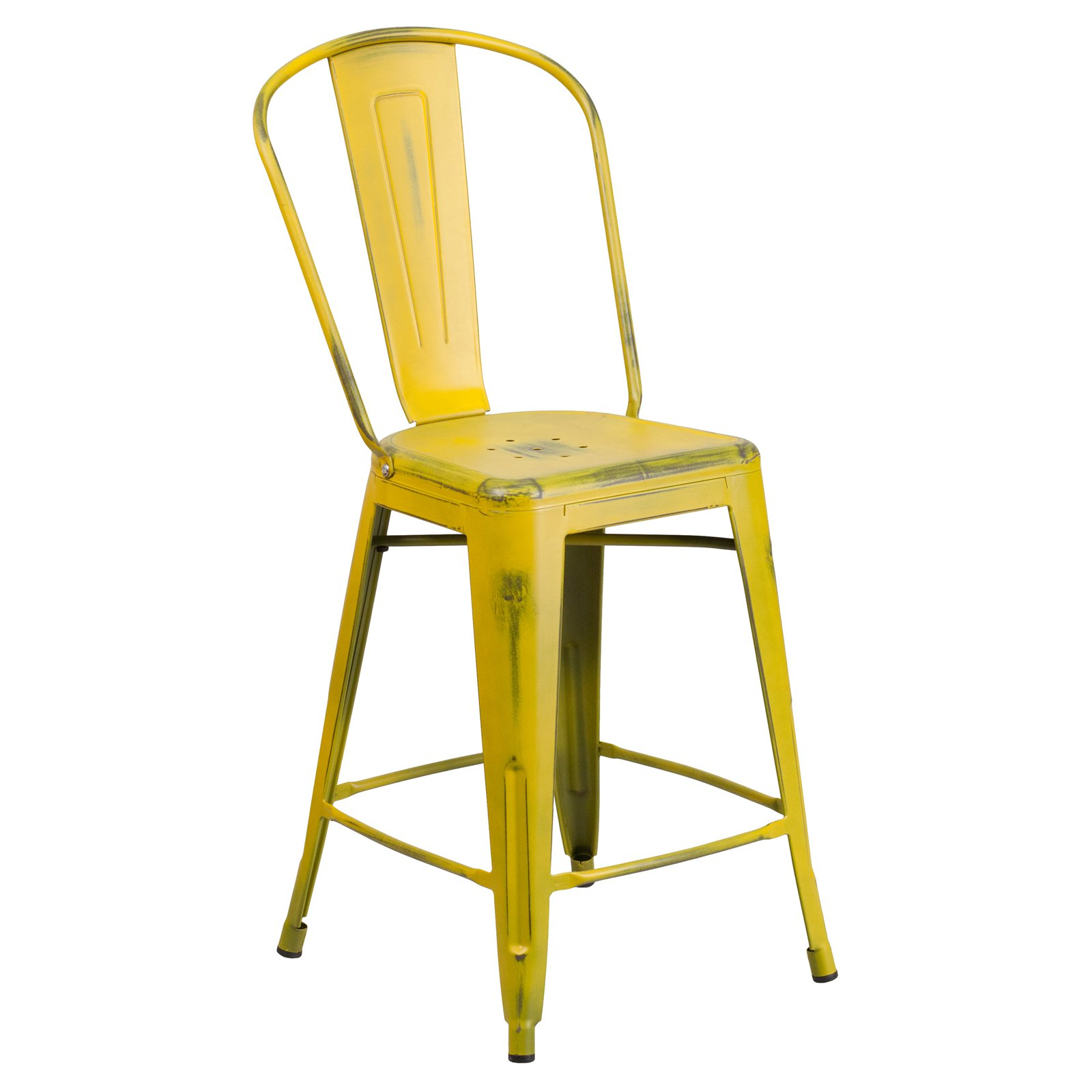 Flash Furniture 24'' High Distressed Metal Indoor-Outdoor Counter Height Stool with Back Multiple Colors