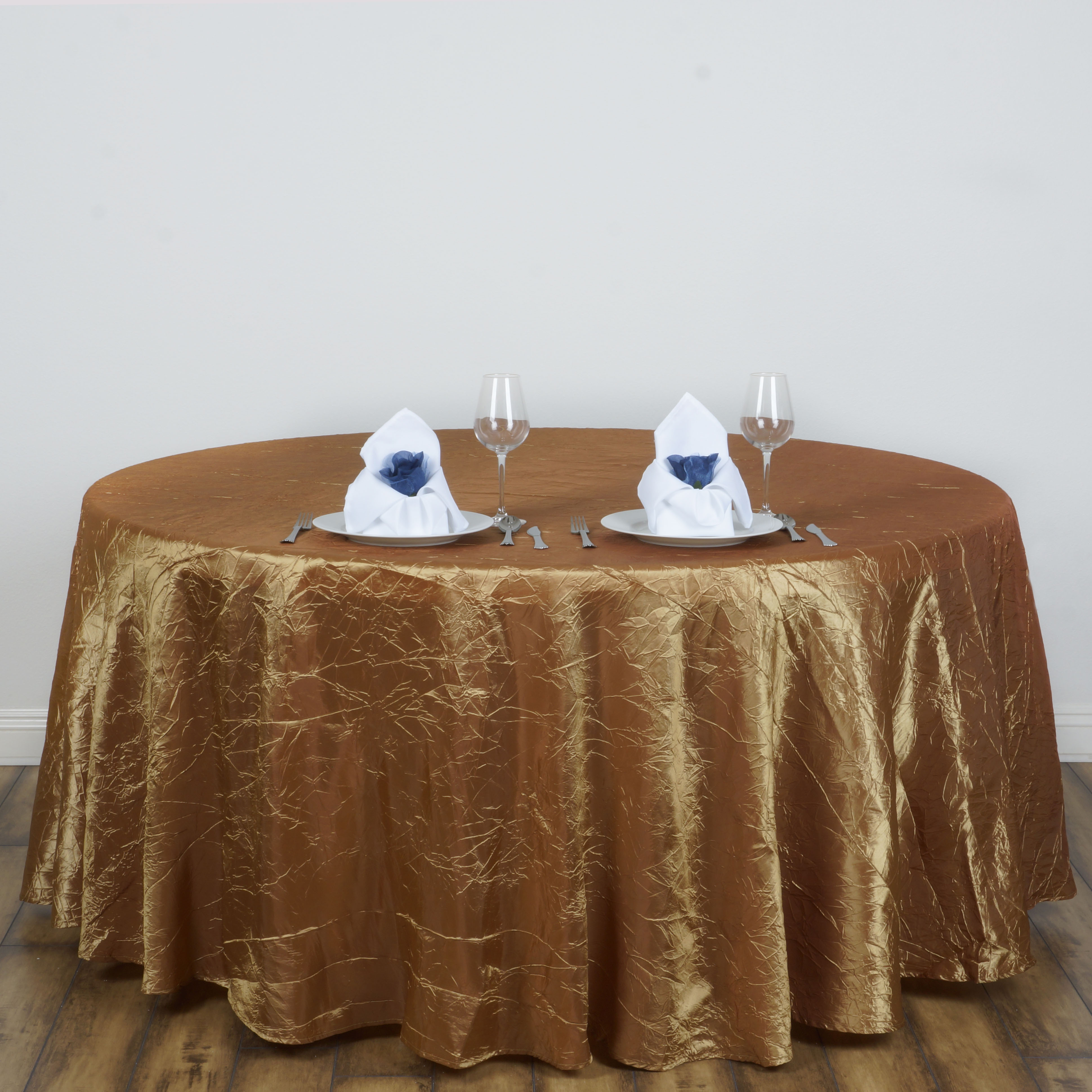 """Efavormart 117"""" Crinkle Taffeta Round Tablecloth for Kitchen Dining Catering Wedding Birthday Party Decorations Events"""