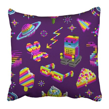 Slant Star - WOPOP Robot Loved Butterfly Swan Ice Cream Cake Space Rainbow Stars Computer Characters 3D Cubes Pixel Pillowcase Pillow Cover 18x18 inches