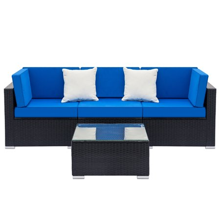Clearance! Wicker Patio Furniture Sets, 4-Piece Conversation Set w/ Coffee Table & Patio Sofa, All-Weather Rattan Sofa sectional furniture Set, Outdoor Couch Set for Backyard, Pool, Black, W2185 ()