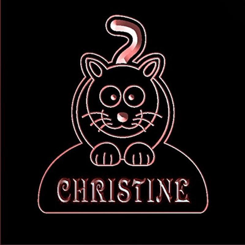 ws1018-0043-r CHRISTINE Cat Kitty Night Light Nursery Baby Kids Name Day/ Night Sensor LED Sign