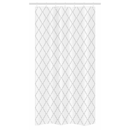 Grey Stall Shower Curtain, Simple Monochrome Patterns Geometric Linked Forms on Plain Background Modern Figures, Fabric Bathroom Set with Hooks, 36W X 72L Inches Long, White Gray, by Ambesonne ()