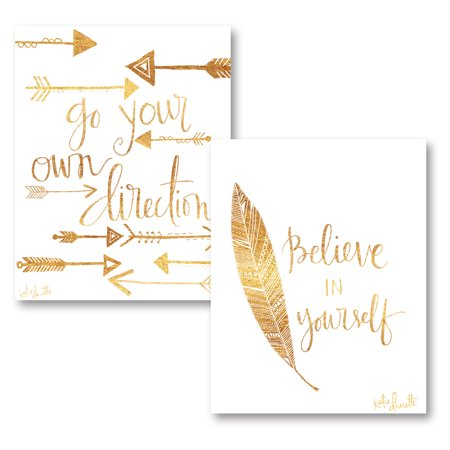 Gango Home Decor Gold Feather and Arrow Inspirational Quote Wall Art; Two Gold 11x14in Unframed Paper Prints