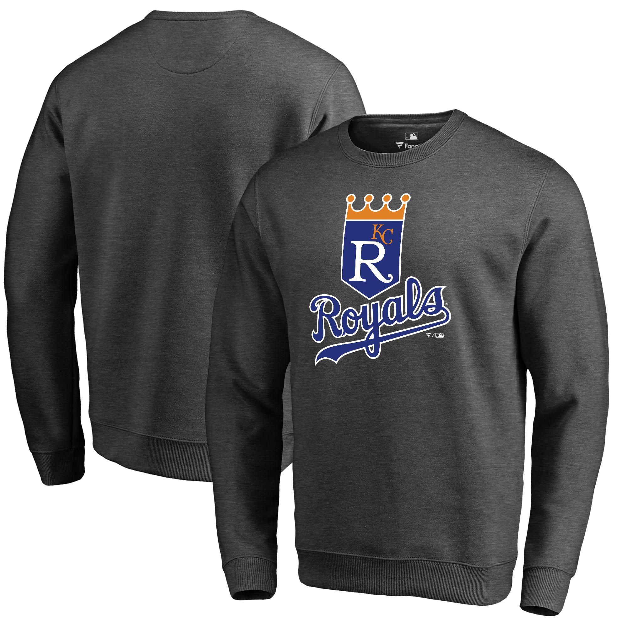 Kansas City Royals Fanatics Branded Cooperstown Collection Huntington Sweatshirt - Heathered Gray