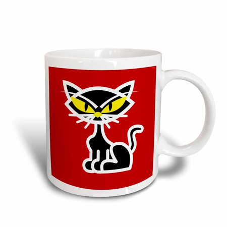 3dRose Retro Style Black Kitty Cat Cartoon on Red Backgroud, Ceramic Mug,