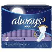 Always Maxi, Size 5, Extra Heavy Overnight Pads With Wings, Unscented, 20 Count