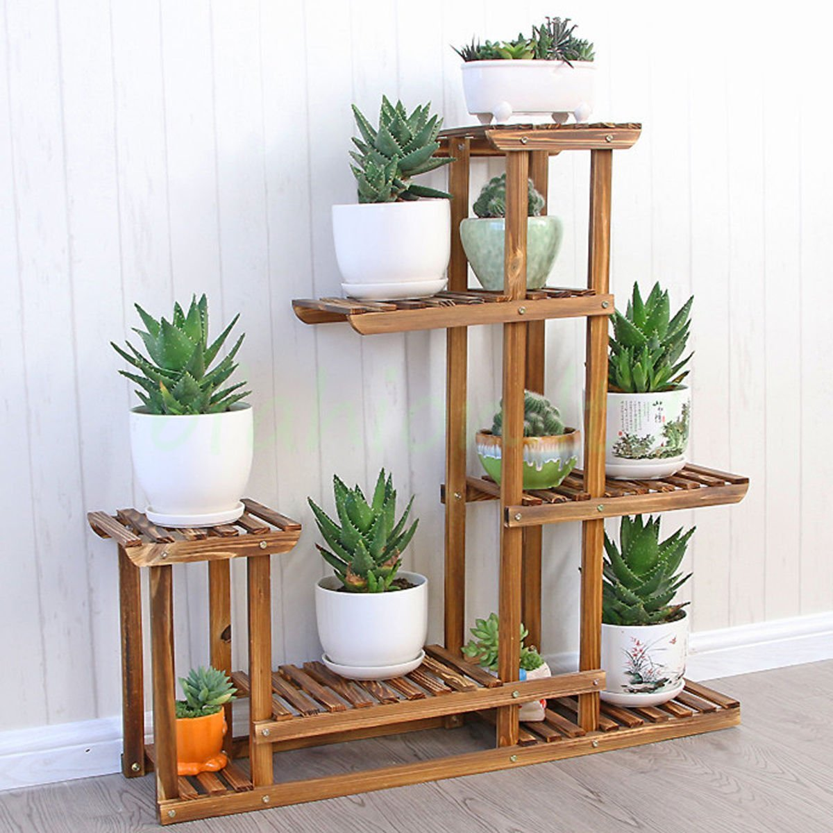 5 Tier Wood Shelf Plant Stand Bathroom Rack Garden Planter Pot Holder For Indoor And Outdoor
