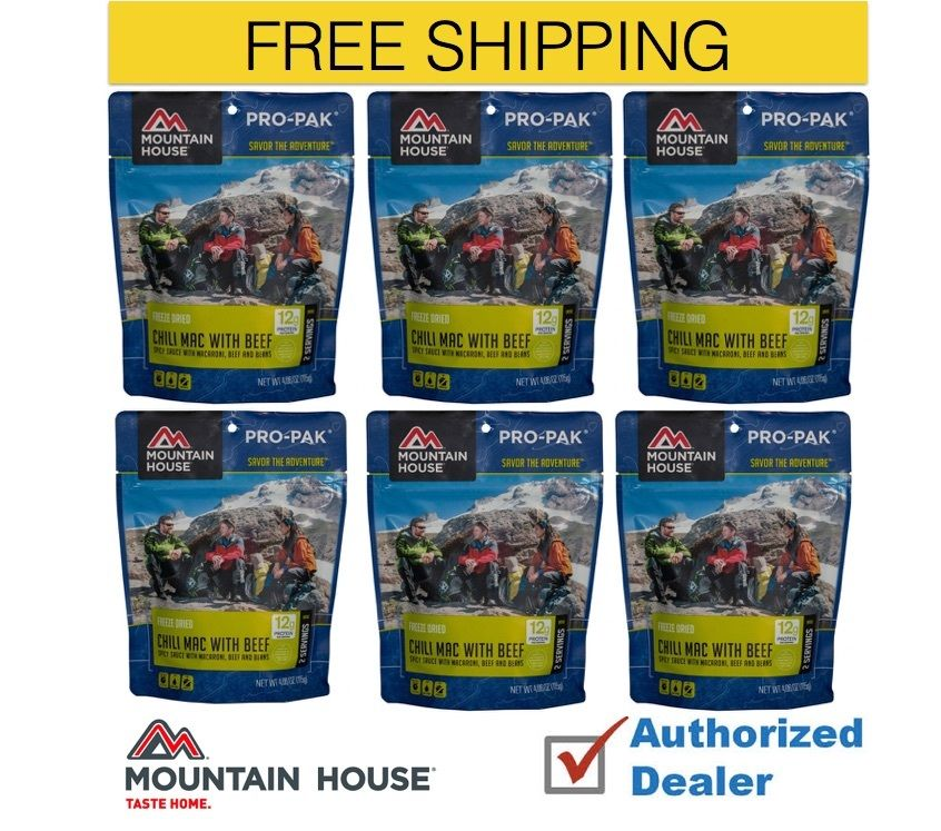 Mountain House Freeze Dried 6 Food Pouches-Chili Mac with Beef Pro-Pak by Mountain House