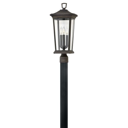 """Hinkley Lighting 2361 Bromley 3 Light 10"""" Wide Landscape Single Head Post Light with Clear Glass Shade"""