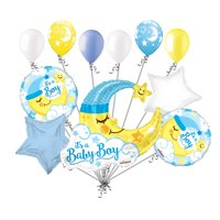11 pc Baby Boy Sleeping Moon Balloon Bouquet Party Decoration Welcome Home Star