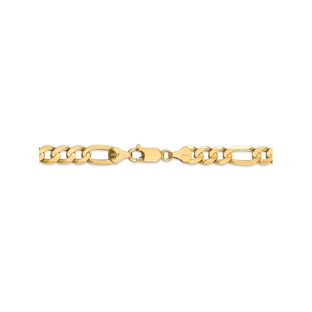 6.75 mm 14k Yellow Gold Concave Open Figaro Chain Necklace - 20 Inch