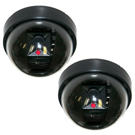VideoSecu 2 Packs Dome Dummy Fake Security Camera CCTV Home Surveillance Camera with Flashing LED Light Simulated 1RM