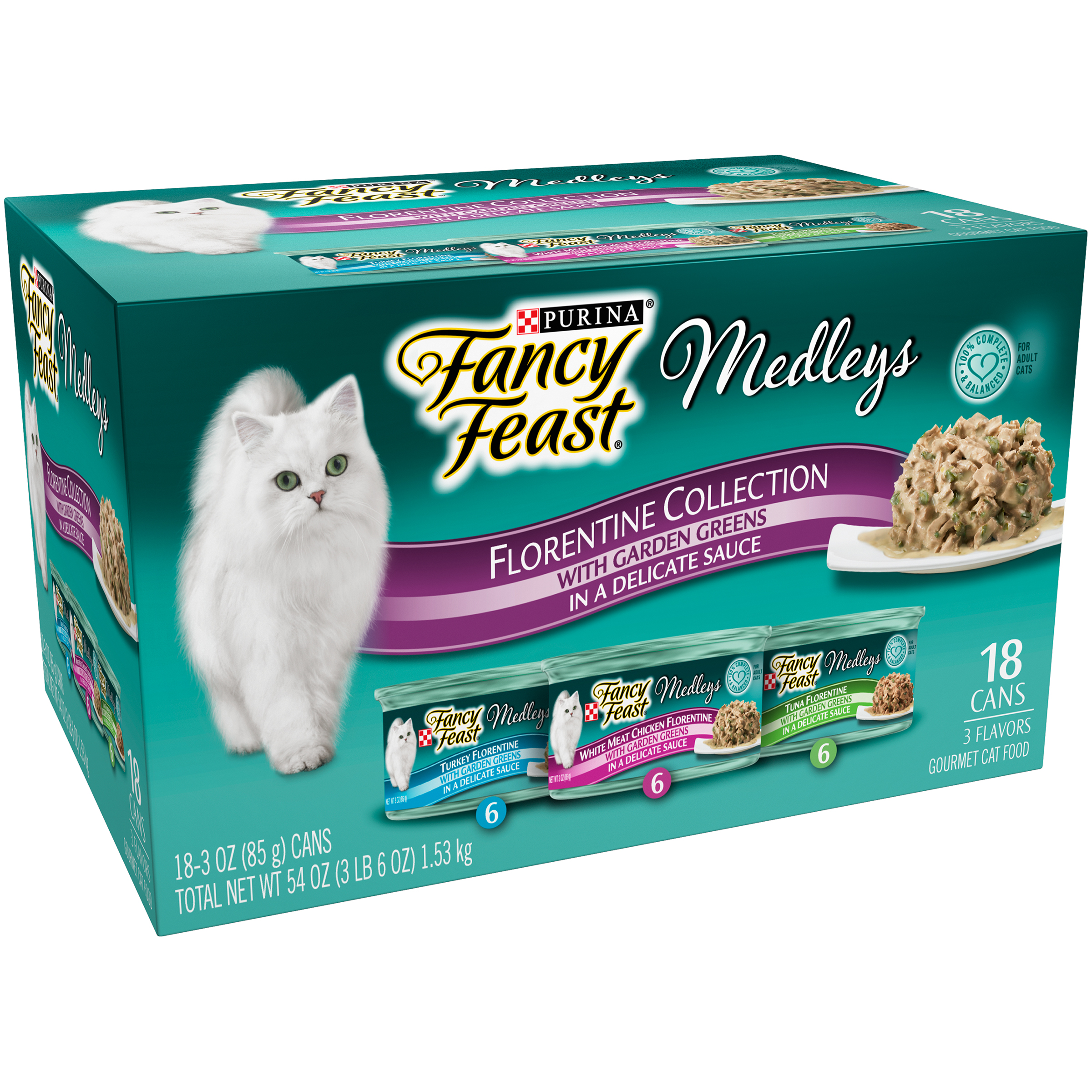 Purina Fancy Feast Medleys Florentine Collection Cat Food 18-3 oz. Cans