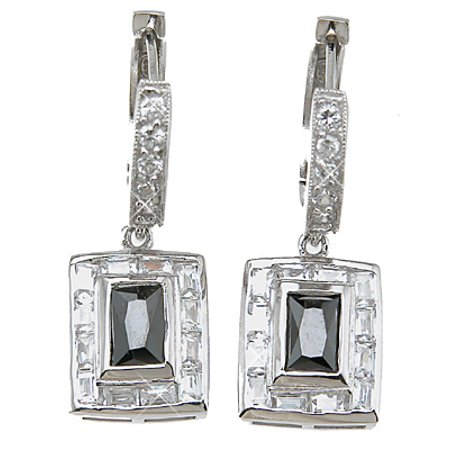 925 Sterling Silver Women'S Earrings Makes Unique Anniversary Gift For Her, Emerald Cut Fashion Sterling Silver Earrings
