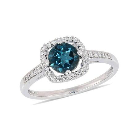 Halloween 10k London (1.00 Carat Natural London Blue Topaz Ring in 10K White Gold with Diamonds 1/8 Carat)
