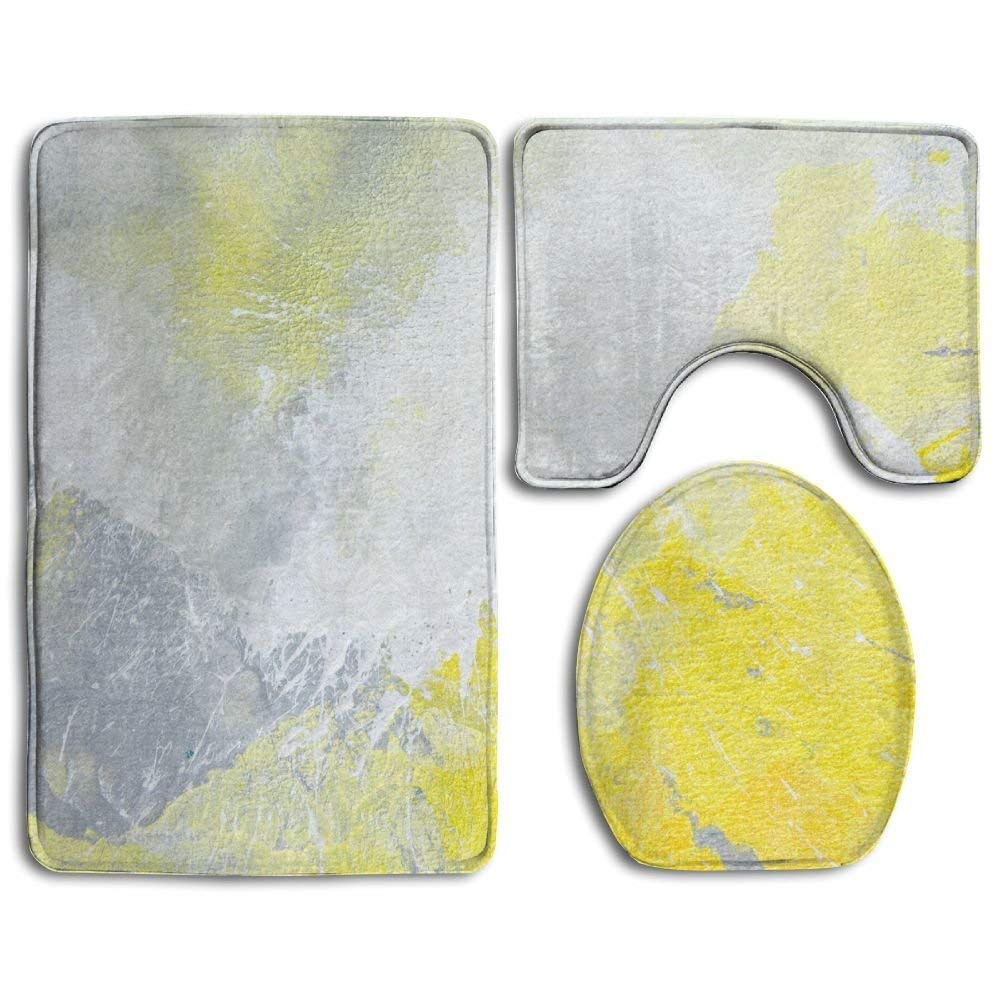 XDDJA Grey and Yellow Abstract Art Painting 9 Piece Bathroom Rugs Set Bath  Rug Contour Mat and Toilet Lid Cover