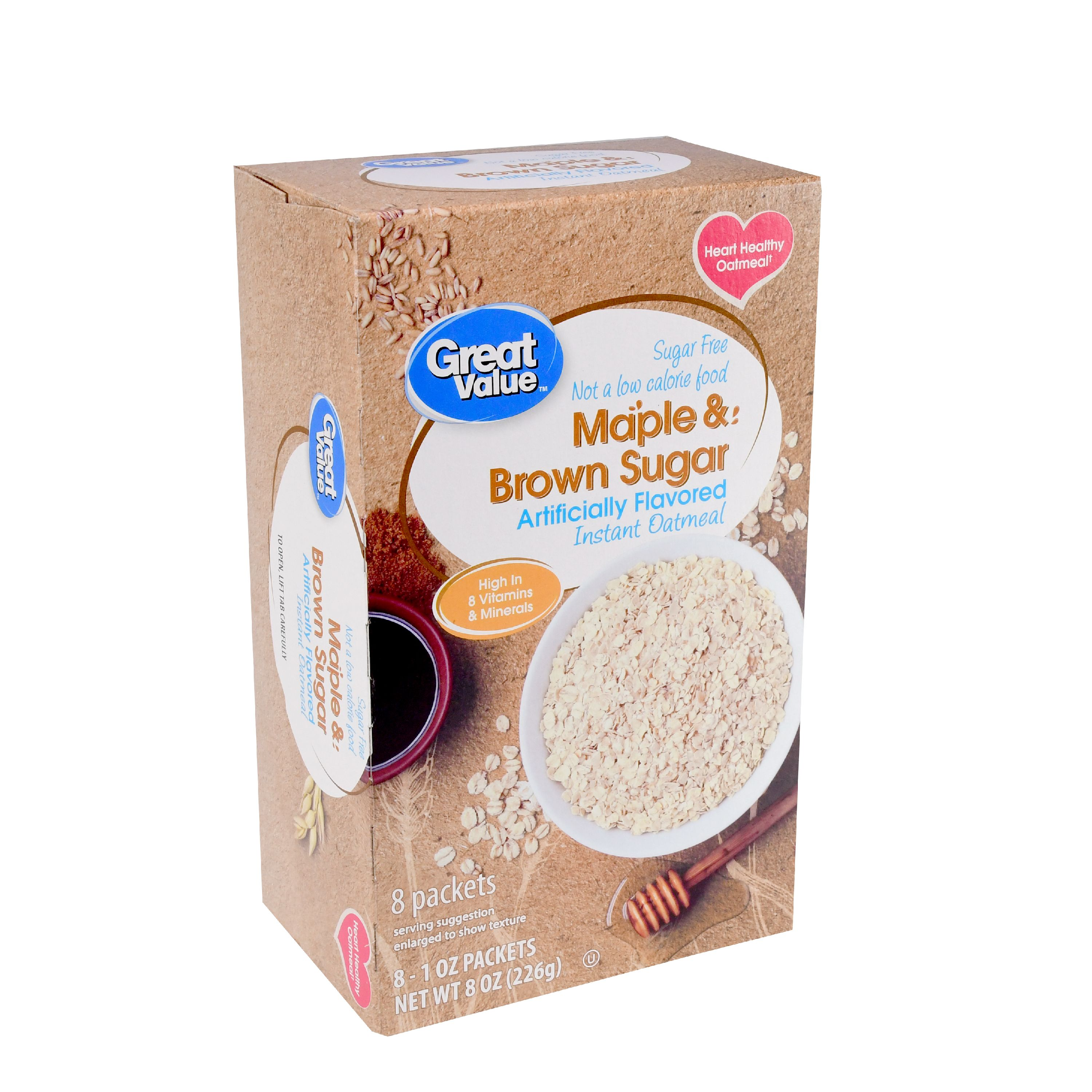 Great Value Instant Oatmeal, Maple & Brown Sugar, 8 oz, 8 Count