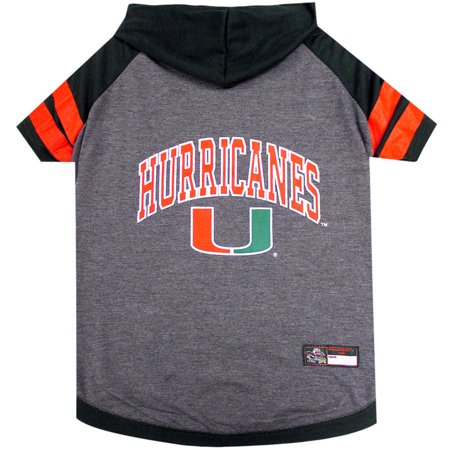 - Pets First College Miami Hurricanes Pet Hoody Tee Shirt, 4 Sizes Available